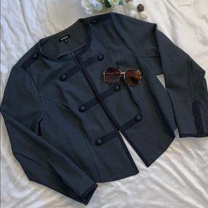 Torrid Gray Military Style Crop Blazer Sz 2